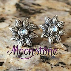 Moonstone Flower Earrings Sterling Silver